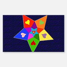 Rainbow Hearts Star Rectangle Decal