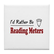 Rather Be Reading Meters Tile Coaster