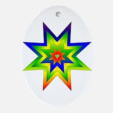 Rainbow Star Oval Ornament