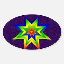 Rainbow Star Oval Decal