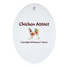 Chicken Addict Oval Ornament