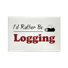 Rather Be Logging Rectangle Magnet