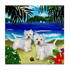 WEST HIGHLAND TERRIER DOGS BEACH Tile Coaster