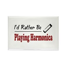 Rather Be Playing Harmonica Rectangle Magnet