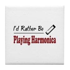 Rather Be Playing Harmonica Tile Coaster