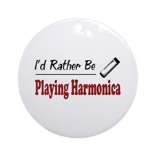 Rather Be Playing Harmonica Ornament (Round)