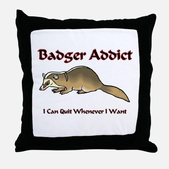 Badger Addict Throw Pillow
