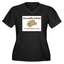 Armadillo Addict Women's Plus Size V-Neck Dark T-S
