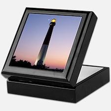 Keepsake Box - Barnegat Light at sunset w/ moon