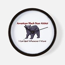 American Black Bear Addict Wall Clock