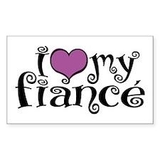 I Love My Fiance Rectangle Decal