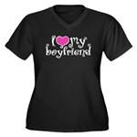 I Love My Boyfriend Women's Plus Size V-Neck Dark