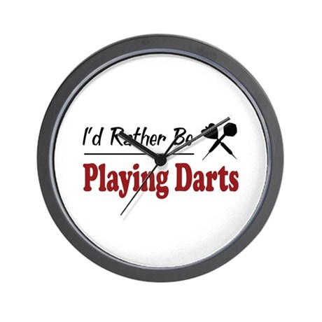 Rather Be Playing Darts Wall Clock