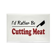 Rather Be Cutting Meat Rectangle Magnet (100 pack)