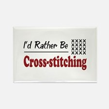 Rather Be Cross-stitching Rectangle Magnet