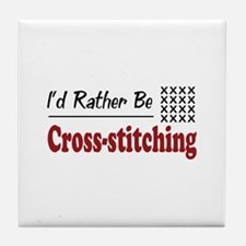 Rather Be Cross-stitching Tile Coaster