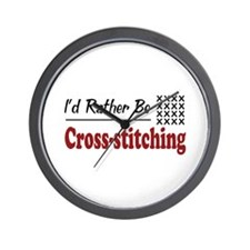 Rather Be Cross-stitching Wall Clock