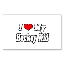 """I Love My Hockey Kid"" Rectangle Decal"