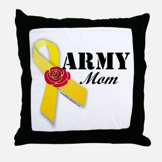 Army Mom (Ribbon Rose) Throw Pillow