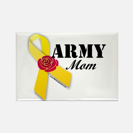 Army Mom (Ribbon Rose) Rectangle Magnet