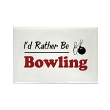Rather Be Bowling Rectangle Magnet