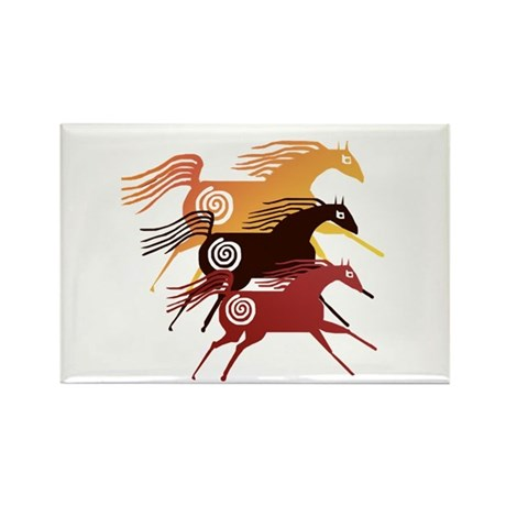 Three Ancient Horses Rectangle Magnet (10 pack)