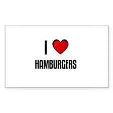 I LOVE HAMBURGERS Rectangle Decal