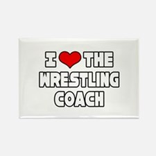 """I Love The Wrestling Coach"" Rectangle Magnet"