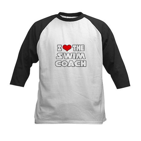 """I Love The Swim Coach"" Kids Baseball Jersey"