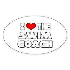 """I Love The Swim Coach"" Oval Decal"