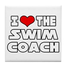"""I Love The Swim Coach"" Tile Coaster"