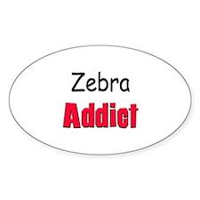 Zebra Addict Oval Decal