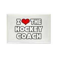 """I Love The Hockey Coach"" Rectangle Magnet"