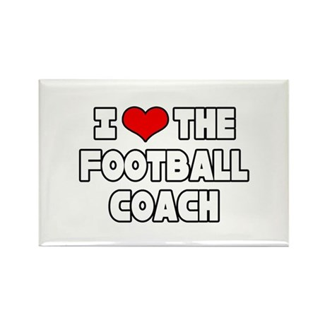 """I Love The Football Coach"" Rectangle Magnet (10 p"