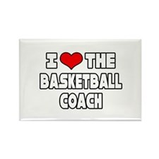 """I Love The Basketball Coach"" Rectangle Magnet"