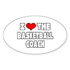 """I Love The Basketball Coach"" Oval Decal"