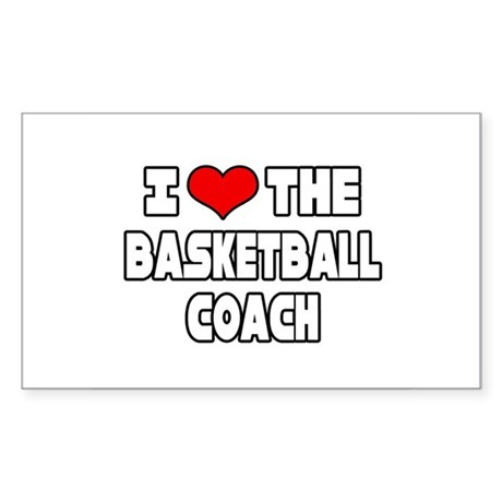 """I Love The Basketball Coach"" Rectangle Sticker"
