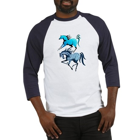 Two Blue Spotted Horses Baseball Jersey
