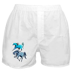 Two Blue Spotted Horses Boxer Shorts