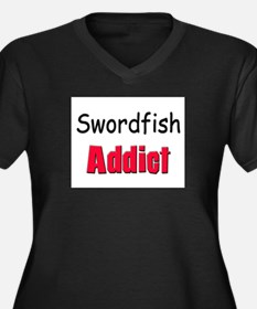 Swordfish Addict Women's Plus Size V-Neck Dark T-S
