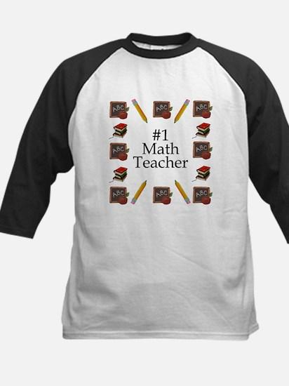 #1 Math Teacher Kids Baseball Jersey