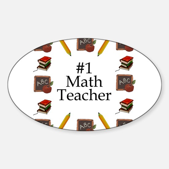 #1 Math Teacher Oval Decal