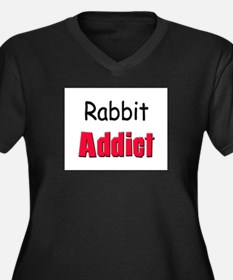 Rabbit Addict Women's Plus Size V-Neck Dark T-Shir