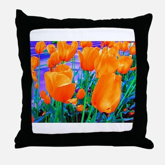Tip Toe n' Tulips Throw Pillow