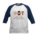 Peace Love PM&R Doctor Kids Baseball Jersey