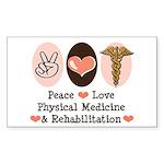 Peace Love PM&R Doctor Rectangle Sticker 10 pk)