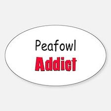 Peafowl Addict Oval Decal