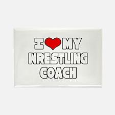 """I Love My Wrestling Coach"" Rectangle Magnet (10 p"