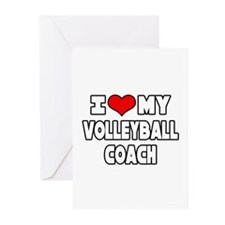 """I Love My Volleyball Coach"" Greeting Cards (Pk of"