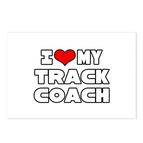 """""""I Love My Track Coach"""" Postcards (Package of 8)"""
